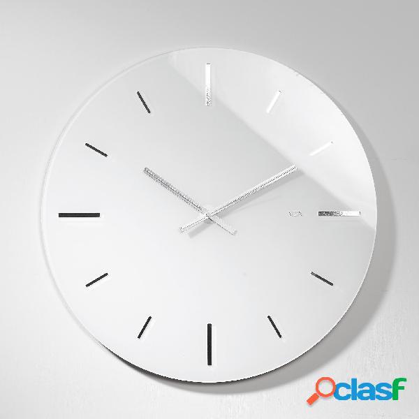 Orologio da muro tondo in plexi bicolore r 2 big con fondo argento specchio 65x1.2 cm spessore plexi mm 5. bianco