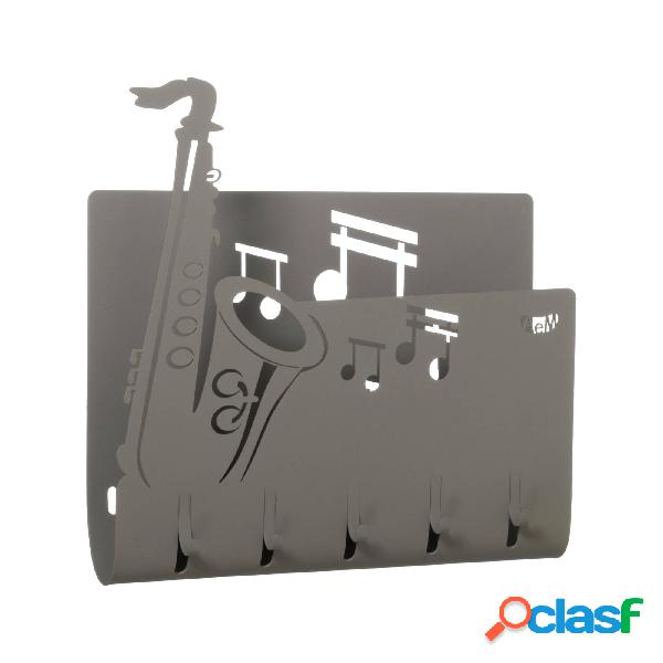 Porta chiavi e porta lettere musicale sax in metallo, 28x5px24h, colore fango