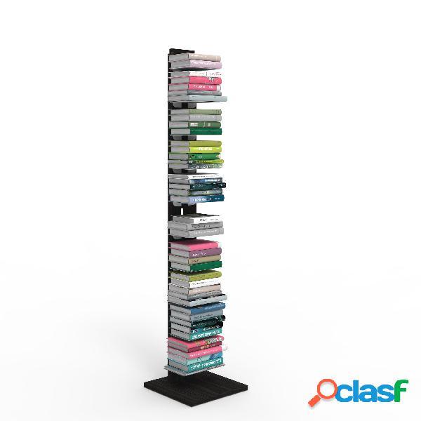 Libreria verticale a colonna zia ortensia 34x34xh 150 cm con struttura i in legno massello di faggio evaporato colore nero mensole in acciaio smaltato