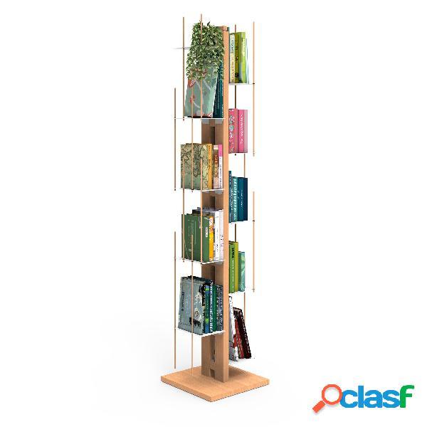 Libreria verticale a colonna zia veronica 34x34xh 150 cm con struttura e bacchette in legno massello di faggio evaporato colore naturale. mensole in acciaio smaltato