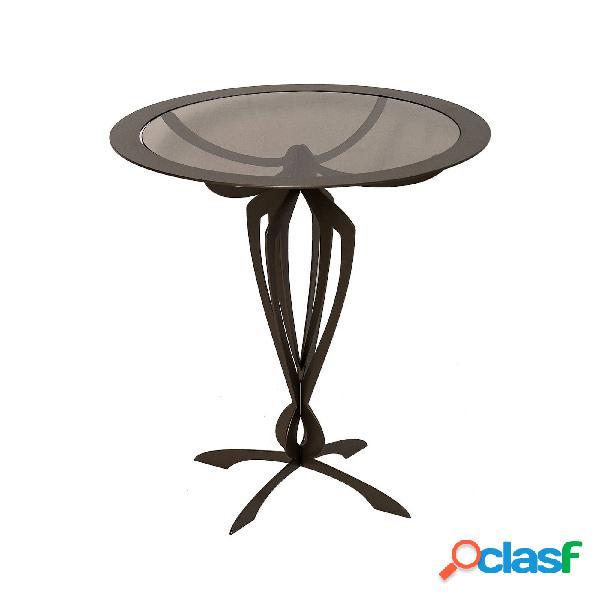 Tavolino da salotto moderno basso minerva in metallo, diam.50x50h, colore bronzo
