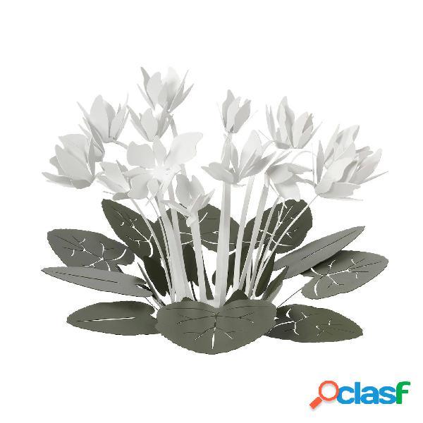 Centro tavola decorativo ciclamino in metallo, 38x24h, colore verde garden bianco