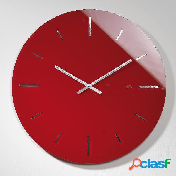 Orologio da muro tondo in plexi bicolore r 2 con fondo argento specchio 40x1.2 cm spessore plexi mm 5. rosso