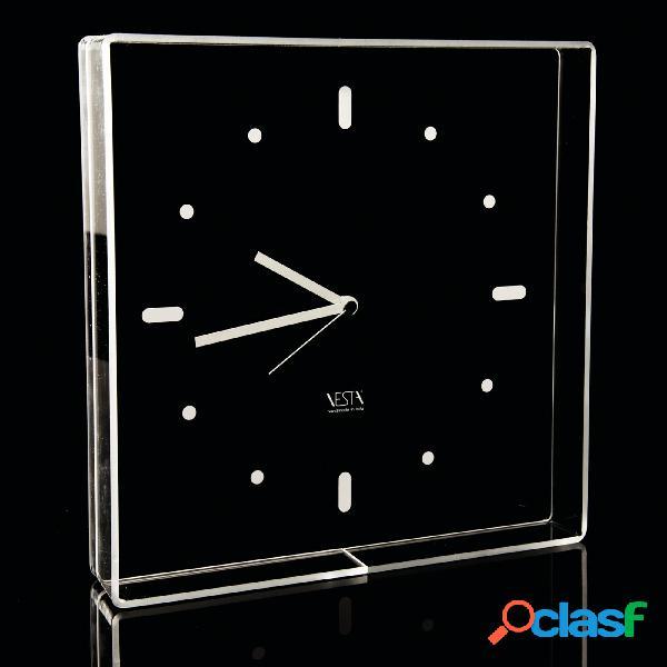 Orologio da muro quadrato h 24 35x35 cm in plexiglas trasparente lancette e numeri bianchi