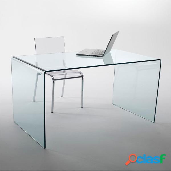 Tavolo scrivania in vetro curvato 140x70xh71 cm spessore 12 mm trasparente