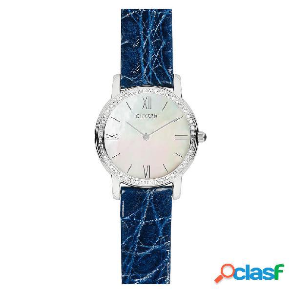 Orologio citizen solo tempo in acciaio e pelle con diamanti eco drive - lady - eg3200-04d