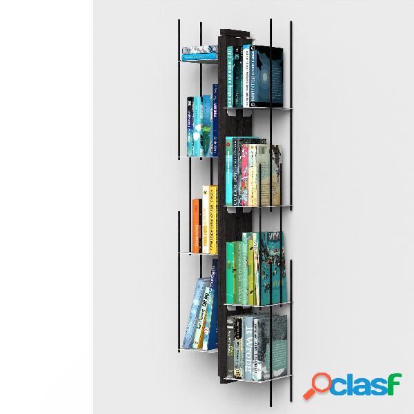Libreria verticale fissaggio a parete sospesa zia veronica 20x32xh 105 cm con struttura e bacchette in legno massello di faggio evaporato colore nero. mensole in acciaio smaltato