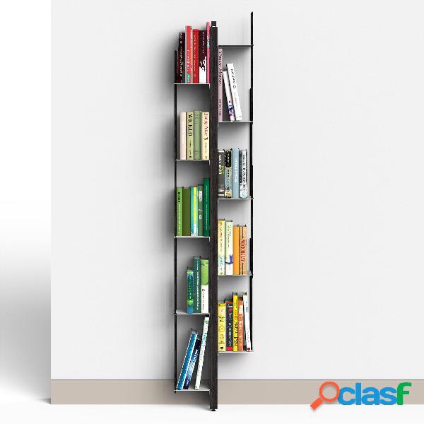 Libreria verticale fissaggio a parete zia veronica 20x32xh 155 cm con struttura e bacchette in legno massello di faggio evaporato colore nero mensole in acciaio smaltato