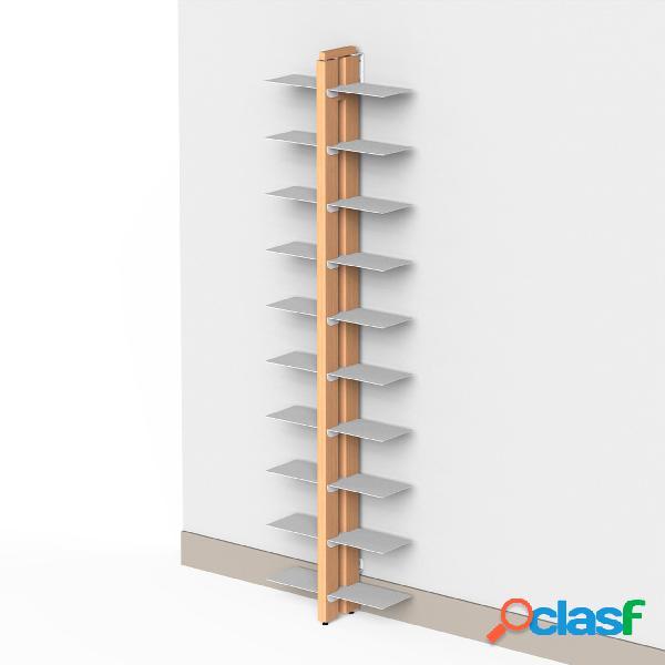 Libreria verticale doppia fissaggio a parete zia bice 17x42xh 155 cm con struttura e bacchette in legno massello di faggio evaporato colore naturale. mensole in acciaio smaltato