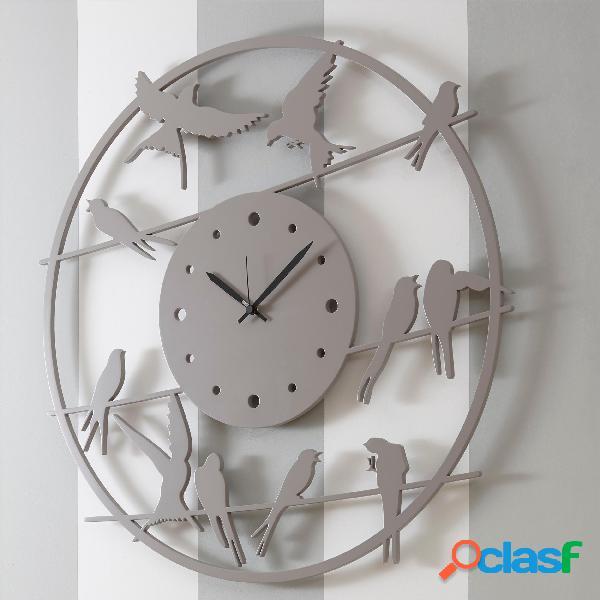 Orologio da parete rotondo diametro 80 cm in legno profondo primavera tagliato al laser in legno laccato grigio