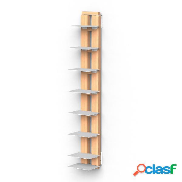 Libreria verticale fissaggio a parete sospesa zia ortenzia 19x20xh 110 cm con struttura in legno massello di faggio evaporato colore naturale. mensole in acciaio smaltato