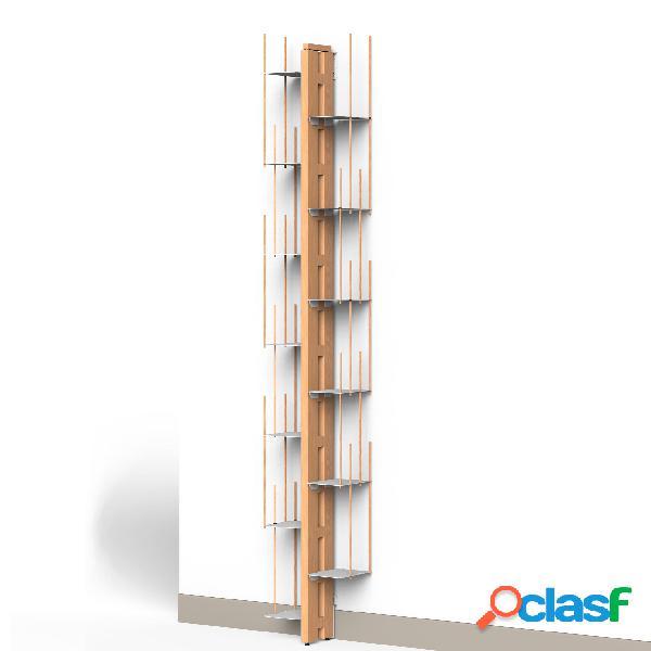 Libreria verticale fissaggio a parete zia veronica 20x32xh 200 cm con struttura e bacchette in legno massello di faggio evaporato colore naturale. mensole in acciaio smaltato