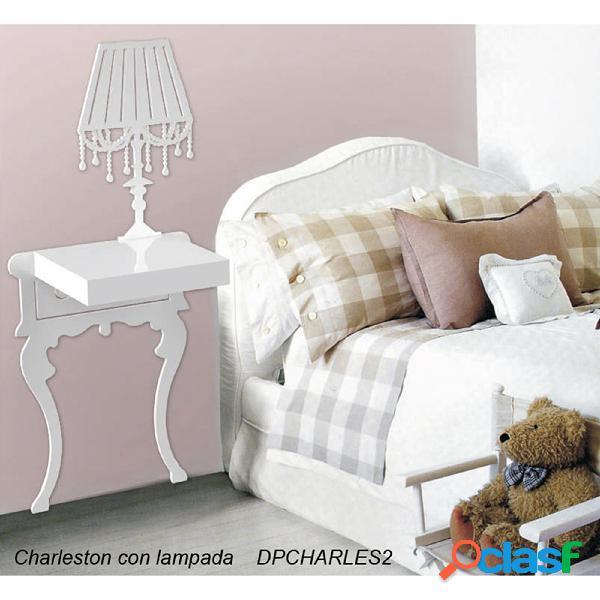 Sticker in 3d con comodino plexiglass e legno charles 111x111 cm colore bianco