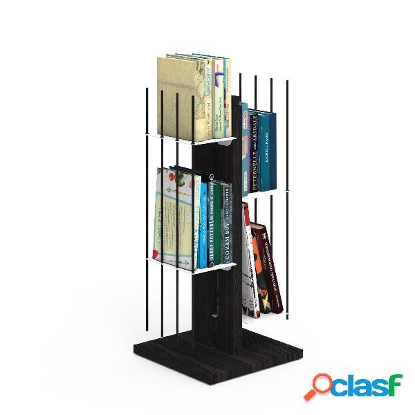 Libreria verticale a colonna zia veronica 30x30xh 65 cm con struttura e bacchette in legno massello di faggio evaporato colore nero. mensole in acciaio smaltato