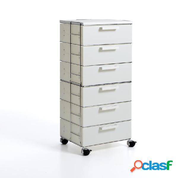 Cassettiera isotta white 6 cassetti 41x35xh106 in polipropilente bianco perla top in mdf