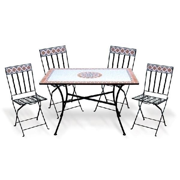Set tavolo + 4 sedie pieghevole esterno giardino salvaspazio
