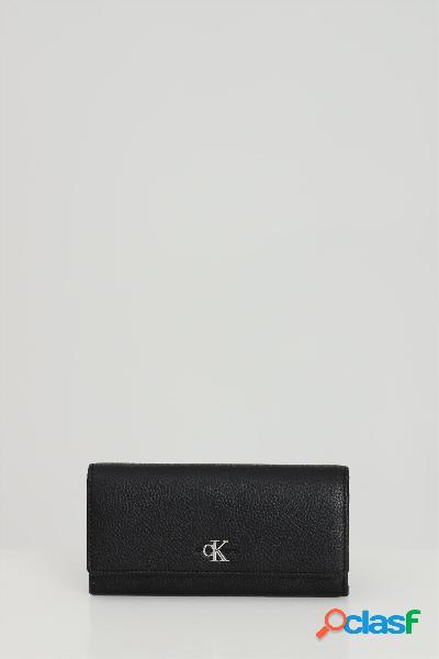 Calvin klein portafoglio donna nero calvin klein in tinta unita e logo a contrasto