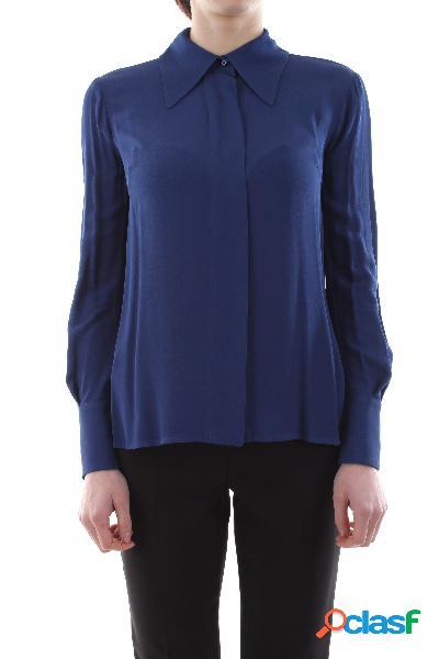 Camicia in doppia georgette di viscosa colletto maniche lunghe chiusura con bottoni nascosti taglio corto vestibilità morbida 100%vi