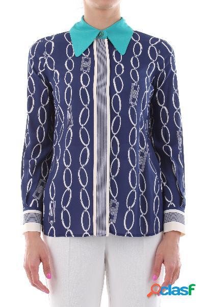 Camicia in viscosa stampa a catena colletto inserti a contrasto maniche lunghe con bottoni chiusura frontale con bottoni nascosti100%vi