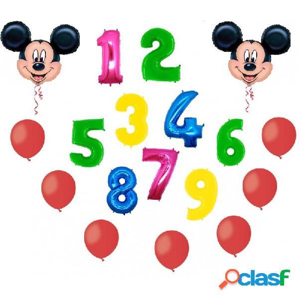 2 palloni foil topolino + numero mylar colorato + 100 palloncini rossi a50