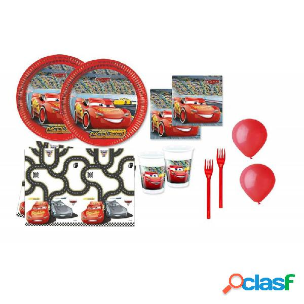 Kit 6 - 213 pz. cars + forchette e palloncini rossi