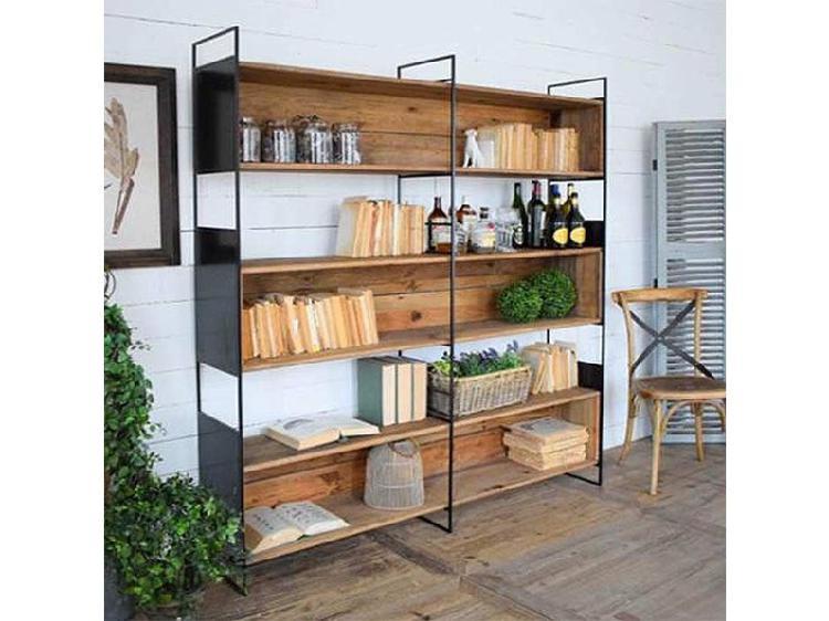 Libreria libreria parete industrial ferro e legno stile