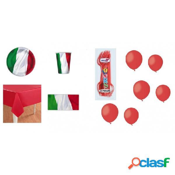 Kit 6 - 205 pz. kit compleanno bandiera italiana + forchette e palloncini rossi