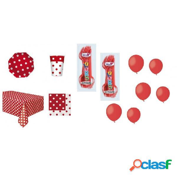 Kit 6 - kit 221 pz. coordinato tavola pois rossi + forchette e palloncini rossi