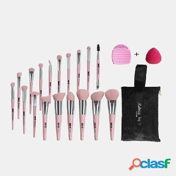 18 pz trucco spazzole set con pennello borsa trucco puff cleaning pennello face trucco strumento