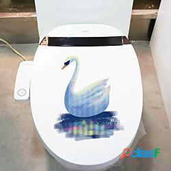 Animali adesivi murali cartone animato bagno wc rimovibile pvc decorazione della casa adesivo murale 1pz lightinthebox