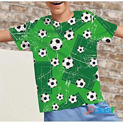 Bambino da ragazzo maglietta manica corta stampa 3d pop art calcio con stampe verde bambini top estate attivo da tutti i giorni standard 4-12 anni lightinthebox
