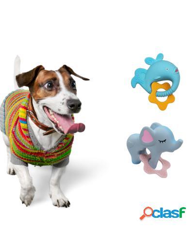 Gioco per cani per la dentizione in gomma con squeak sonoro blu