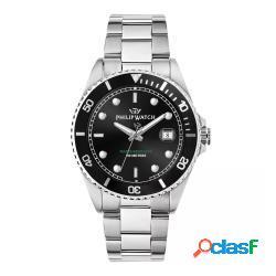 Philip watch r8253597069 uomo 42mm acciaio acciaio nero silver quarzo solo tempo 10atm - philip watch - r8253597069-c