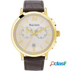Philip watch r8271698006 uomo 43mm acciaio pelle silver marrone quarzo cronografo 5atm - philip watch - r8271698006-c