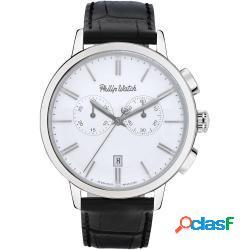 Philip watch r8271698007 uomo 43mm acciaio. pelle bianco nero quarzo cronografo - philip watch - r8271698007-c