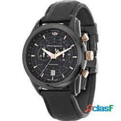 Philip watch r8271996004 uomo 44mm acciaio pelle nero nero quarzo cronografo 10atm - philip watch - r8271996004-c