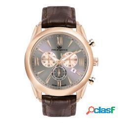 Philip watch r8271996006 uomo 44mm acciaio pelle grigio scuro marrone quarzo cronografo 10atm - philip watch - r8271996006-c