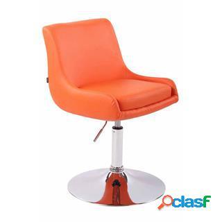 Sedia asia, altezza regolabile, base in metallo, in pelle color arancione
