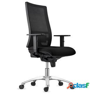 Sedia ergonomica emerson, base in metallo, supporto lombare, tessuto nero