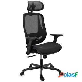 Sedia ergonomica nova, confortevole e regolabile, alta qualità, in rete, nero
