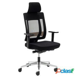 Ricondizionato sedia ergonomica ottawa, regolabile, base alluminio, nero