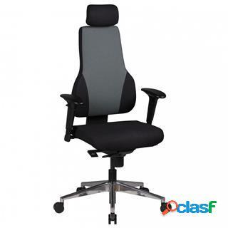 Sedia ergonomica ulisse, regolabile, poggiatesta, nero/grigio