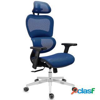 Sedia ergonomica victory, regolabile, in tessuto blu