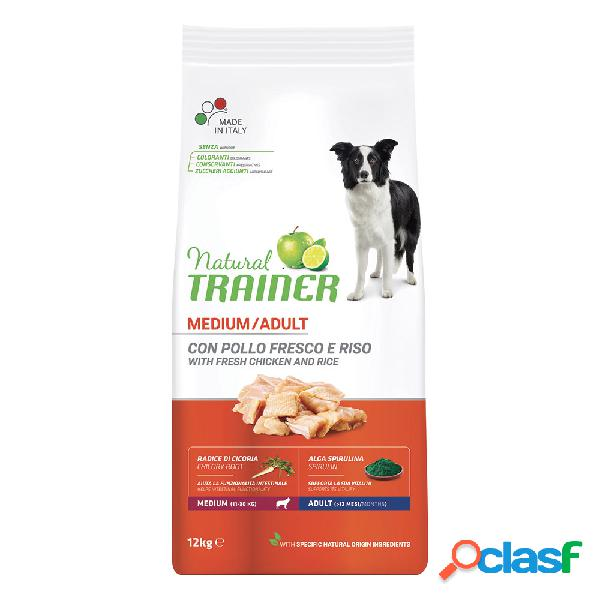 Natural trainer medium adult pollo fresco & riso 12 kg.