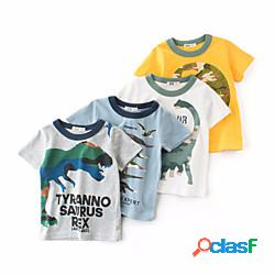 Bambino da ragazzo maglietta manica corta dinosauro acqua blu fiore di cenere bianco sporco bambini top estate casual / quotidiano da tutti i giorni lightinthebox