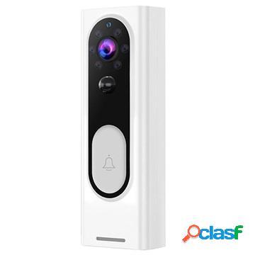 Smart wireless video doorbell camera with pir motion sensor - white