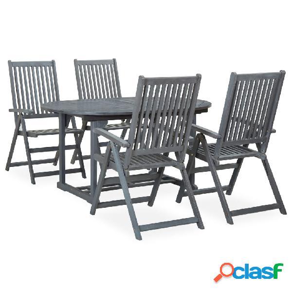 Vidaxl set pranzo da giardino 5 pz in legno massello di acacia grigio