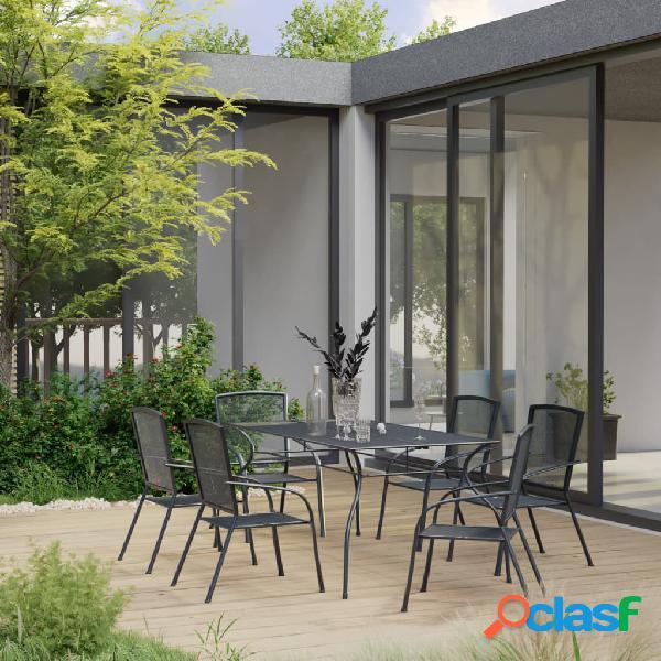 Vidaxl set pranzo da giardino 7 pz in acciaio antracite