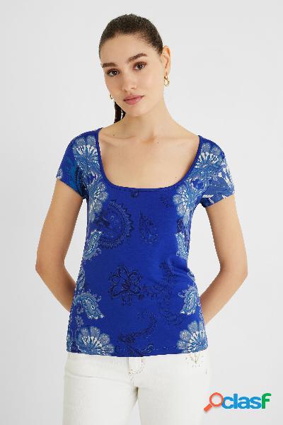 Maglietta manica corta paisley - blue - l