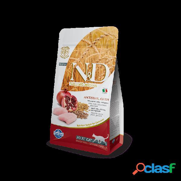 Farmina n&d - farmina n&d ancestral low-grain adult con pollo e melograno per gatti sacco da 5 kg